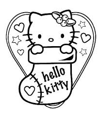 Christmas Kitten Coloring Pages Hello Kitty Es E Colouring Free