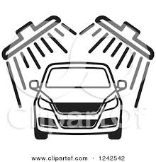 Clipart of a B ack and White Automobile in a Car Wash 2 Royalty