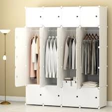 White Portable Clothes Closet Wardrobe Bedroom Armoire Storage
