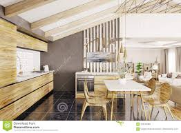 100 Modern Wooden House Design Kitchen Interior 3d Rendering Stock Illustration