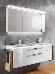 puris cool line badmöbel set 122 cm breit spiegelschrank inkl gesimsboden mit led flächenleuchte