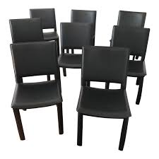 100 Black Leather Side Dining Chairs Room And Board Madrid Covered Set Of 8