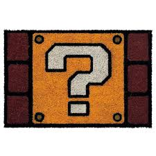 official nintendo super mario question block design doormat ebay