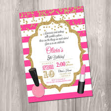 Makeup Invitation Makeup Birthday Party Invitation Manicure