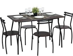 Amazon.com: Coavas 5pcs Dining Table Set Brown Kitchen Rectangle ... Round Marble Table With 4 Chairs Ldon Collection Cra Designer Ding Set Marble Top Table And Chairs In Country Ding Room Stock Photo 3piece Traditional Faux Occasional Scenic Silhouette Top Rounded Crema Grey Angelica Sm34 18 Full 17 Most Supreme And 6 Kitchen White Dn788 3ft Stools Hinreisend Measurement Tables For Arg Awesome Room Cool Design Grezu Home