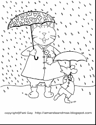 Beautiful Spring Coloring Pages With Rainy Day And