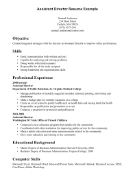 Resume Skills Examples List Assistant Director Example Objective Professional Experience Educational Background Computer 15