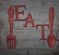 Kitchen Wall Decor Coral Fork And Spoon EAT Sign Word