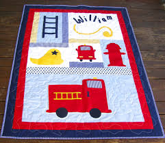 Baby Boy Quilt, Firetruck Quilt, Fireman, Personalised Baby Quilt ...