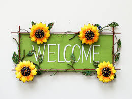 Sunflower Bath Towel Set by Attractiondesignhome Sunflower Welcome Sign Wall Décor U0026 Reviews