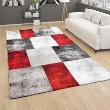 teppich wohnzimmer kurzflor 3d effekt modernes rauten karo muster grau rot weiß