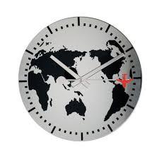 Horloge Mural 3d Achat Vente Pas Cher La Chaise Longue Horloge Murale Monde Gris Pas Cher Achat