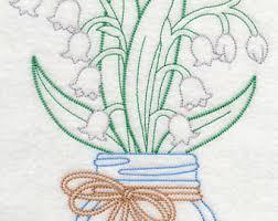 Mason Jar Lily Of The Valley Kitchen Towel Farmhouse