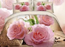 3D Pink Rose and Green Leaves Cotton 4 Piece Bedding Sets Duvet