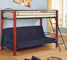 coaster haskell metal and wood casual twin over futon bunk bed