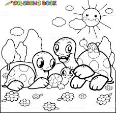 Animal Family Group Of Animals Reptile Turtle Cute Coloring Book Page