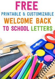Free Printable and Customizable Wel e Back to School Letters
