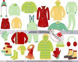 Winter Clothing Clipart Set Digital Scrapbook Clip Art Pack