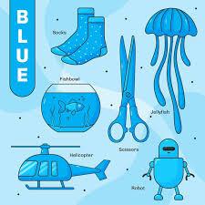 satz blaue objekte und vokabeln in englisch kostenlose vektor