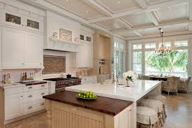 Coffered Kitchen Ceilings Traditional With Country Shaker Style Island Seating