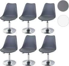 mendler 6x esszimmerstuhl malmö t501 stuhl küchenstuhl höhenverstellbar drehbar kunstleder dunkelgrau chromfuß
