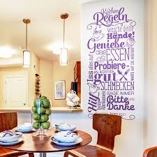 dekoration wandtattoo küchenregeln esszimmer sprüche wand