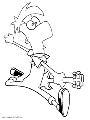 Ferb With The Electric Guitar Coloring Page Of Cartoon