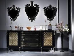 casa padrino luxus barock wohnzimmer set schwarz gold kommode und 3 wandspiegel barockmöbel