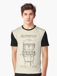Margaret Knight Inventor Of The Paper Bag Machine Graphic T Shirt Front