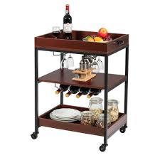 costway servierwagen küchenwagen haushaltswagen küchenrollwagen mit universalrädern 3 ablagen mit weinglashalter ideal für küche esszimmer