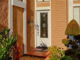 Contemporary Front Entry Rustic With Wood And Glass Door Potted Plants