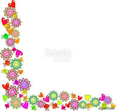 A Floral Page Corner Border Decoration With Happy Flowers Love Hearts And Bees