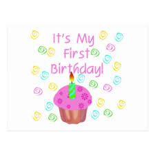 Pink Cupcake With Candle First Birthday Postcard