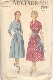Vintage 50s Button Up Dress Pattern Advance 5797 Bust 34 Size 16
