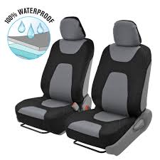 2PC FRONT CAR Seat Covers 100% Waterproof Polyester/Neoprene Black ...