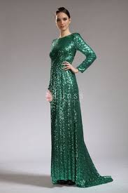 elegant bateau neck long sleeve sequin green celeb angelina jolie