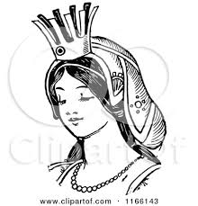 queen clipart black and white 7