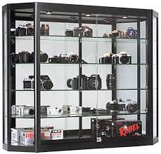wall mounted led display cabinet angled front design