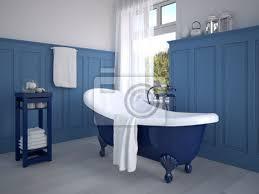 klassisches badezimmer mit dekoration in blau poster myloview