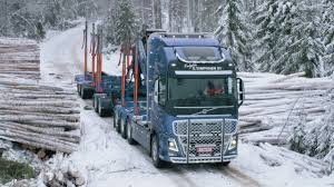 100 Trucks In Snow Volvo Hauling Timber Through Finlands Frozen Forests