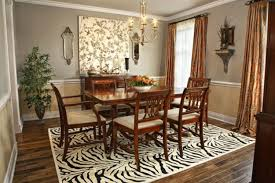 Dining Room Brown Wooden Set On Black White Zebra Rug Added By Fabric