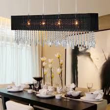 Chandelier Extraordinary Rectangular Shade Pendant Black With Crystal Wooden Dining Table