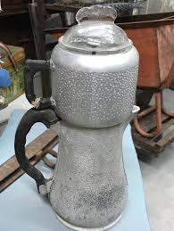 Vintage 1950s Heavy Hammered Aluminum Guardian Service Coffee Maker