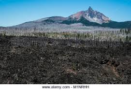 Mount Washington and lava beds in the central Oregon Cascade Stock