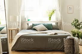 decke und kissen im bett im schlafzimmer innenraum mit spiegel le und korb in der nähe pflanzen echtes foto stockfoto und mehr bilder bett