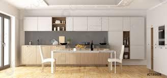 foto auf lager moderne hölzerne und weiße küche