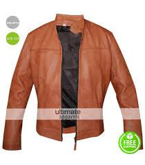 men u0027s slim fit light brown faux leather jacket