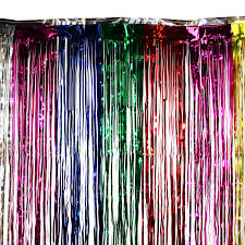 Foil Fringe Curtain Singapore by 3 U0027x8 U0027 Ft Rainbow Party Curtain Metallic Fringe Foil Shimmer