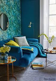 blaue samttapete blau zimmer aqua möbel türkis wohnzimmer