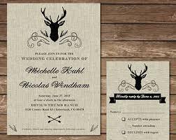 Printable Rustic Deer Wedding Invitation With RSVP Card